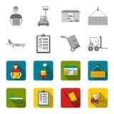 Aereo da carico, carretto per trasporto, scatole, carrello elevatore, documenti Logistico, metta le icone della raccolta nello st royalty illustrazione gratis