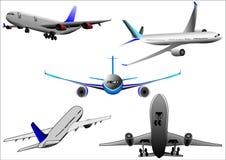 Aereo del airbus dell'aeroplano sopra priorità bassa bianca Immagini Stock