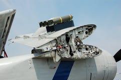 Aereo del blu marino della seconda guerra mondiale con le ali piegate Fotografia Stock