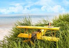Aereo del giocattolo dell'annata in erba alta alla spiaggia Immagini Stock