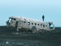 Aereo del relitto del Dakota - dell'Islanda fotografia stock libera da diritti