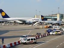 Aereo dell'aeroporto di Francoforte a380 fotografie stock libere da diritti