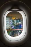 Aereo della finestra con la vista di paesaggio urbano Immagini Stock