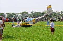 Aereo di addestramento militare caduto in Indonesia Fotografia Stock Libera da Diritti