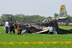 Aereo di addestramento militare caduto in Indonesia Immagini Stock