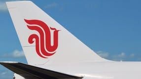 Aereo di Air China, primo piano di logo Fotografia Stock