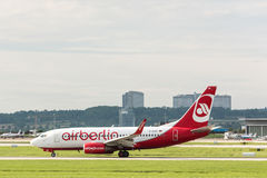 Aereo di AirBerlin all'aeroporto di Stuttgart Fotografia Stock Libera da Diritti