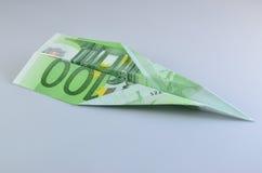 Aereo di carta degli euro Immagini Stock