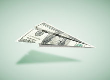 Aereo di carta del dollaro Fotografie Stock Libere da Diritti