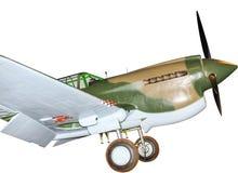 Aereo di combattimento di P-40 Kitty Hawk, isolato su bianco Fotografia Stock