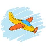 Aereo di legno d'annata fatto a mano del giocattolo, illustrazione disegnata a mano isometrica di vettore eps10 Fotografia Stock