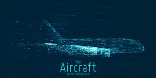 Aereo di linea di vettore costruito con le linee d'ardore Linea sottile concetto del wireframe Volo degli aerei in cielo con le t illustrazione di stock