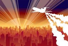 Aereo di volo sulla città Immagini Stock Libere da Diritti