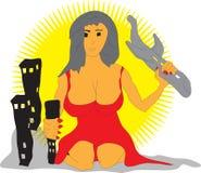 Aereo e costruzione della tenuta della donna illustrazione vettoriale