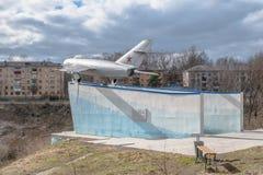 Aereo militare MIG-17 dell'URSS Monumento in Ržev, Russia Fotografie Stock