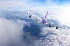 Aereo nel bianco del nero del fondo dell'aeroplano di trasporto di viaggio di volo del cielo Fotografia Stock