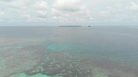 Aereo: sorvolare la barriera corallina bianca dell'acqua del turchese del mare di Caraibi della spiaggia dell'isola tropicale Iso video d archivio