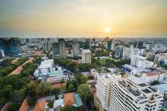 Aeria de Saigon en el sunsetl, Vietnam Imágenes de archivo libres de regalías