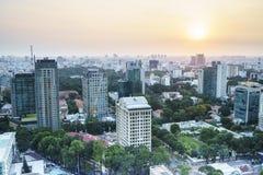 Aeria de Saigon en el sunsetl, Vietnam Fotografía de archivo