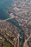 Aeria droit de ville de ville de Lucerne Suisse de pont de chapelle de luzerne Images stock