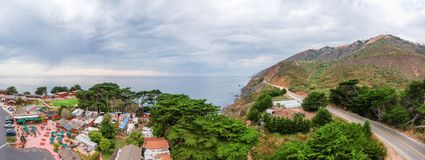 Aeria view of homes and countryside. Ragged Point is one of the. Best Big Sur viewpoint stock image