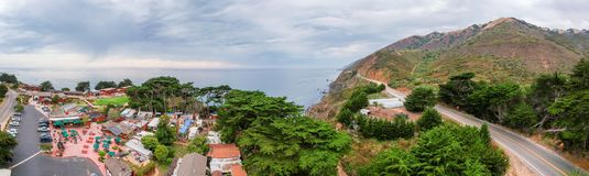 Aeria view of homes and countryside. Ragged Point is one of the. Best Big Sur viewpoint stock photography