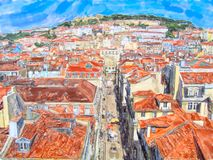 Aeria view over Lisbon capital of Portugal. Water color illustration. Town part calls Baixa and in background Saint George Castle stock photos