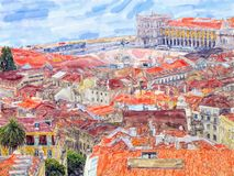 Aeria view over Lisbon capital of Portugal. Water color illustration. Town part calls Baixa and Commerce Square stock photo
