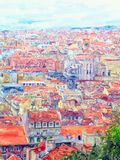 Aeria view over Lisbon capital of Portugal. Water color illustration. Town part calls Baixa with the ruins of The Convent of Our Lady of Mount Carmel stock photo