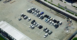 Aeria view of a parking lot in Tokyo, Japan. Tokyo, Japan - May 19, 2017. Aeria view of a parking lot in Tokyo, Japan. Tokyo, as the center of the Greater Tokyo stock images