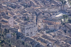 Aeria view of the small town of Gubbio with the Consoli's Palace Stock Photos