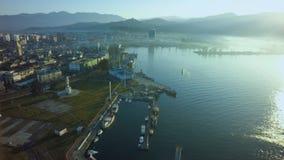 Aeriaal Black sea coast Georgia, Batumi.  stock photo