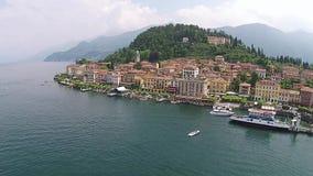 Aeriak view Town of Bellagio. Como Lake. Northern Italy. stock footage