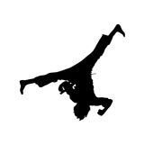 Aerial. Male Martial Artist performing an acrobatic aerial isolated over white vector illustration