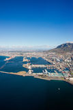 Aerial. Shot of Table Mountains and Indian Ocean in Cape Town, South Africa Stock Photo