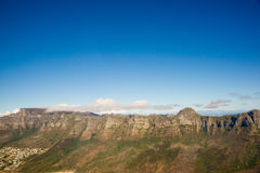 Aerial. Shot of Table Mountains and Indian Ocean in Cape Town, South Africa Stock Photography