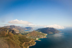 Aerial. Shot of Table Mountains and Indian Ocean in Cape Town, South Africa Stock Photos