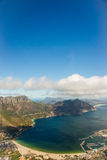 Aerial. Shot of Table Mountains and Indian Ocean in Cape Town, South Africa Royalty Free Stock Photo