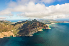 Aerial. Shot of Table Mountains and Indian Ocean in Cape Town, South Africa Stock Images