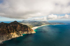 Aerial. Shot of Table Mountains and Indian Ocean in Cape Town, South Africa Royalty Free Stock Images