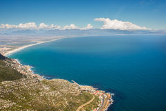 Aerial. Shot of Table Mountains and Indian Ocean in Cape Town, South Africa Royalty Free Stock Image