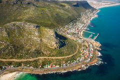 Aerial. Shot of Table Mountains and Indian Ocean in Cape Town, South Africa Royalty Free Stock Photography