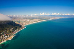 Aerial. Shot of Table Mountains and Indian Ocean in Cape Town, South Africa Royalty Free Stock Photos
