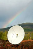 The aerial. The white aerial in tundra under a rainbow Stock Photography