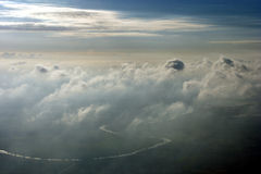 Aerial above clouds. An aerial shot above clouds over Nottinghamshire, England Stock Photo