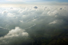 Aerial above clouds. An aerial shot above clouds over Nottinghamshire, England Royalty Free Stock Photography