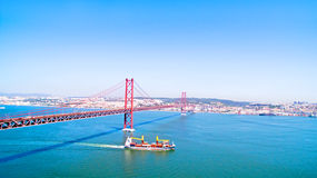 Aerial from the 25 Abril bridge in Lisbon Portugal Stock Image