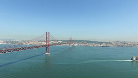 Aerial from the 25 Abril bridge and the river Tejo in Lisbon Portugal stock video