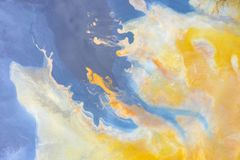 Aerial Abstract Pattern Of Colorful Water And Mud Stock Photos