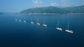 aerial Acht Yachten ausgerichtet auf adriatischem Meer stock video footage